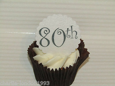 12 80TH Birthday Scallop Wafer Paper Disc Cupcake Toppers Cake