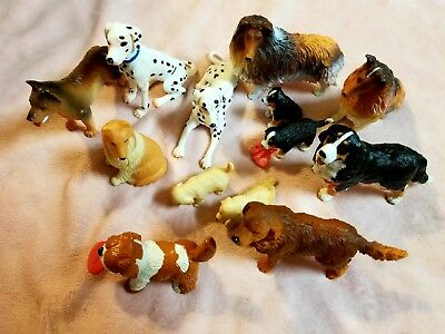 Lot Of 13 Plastic Dog Figures Very Nice