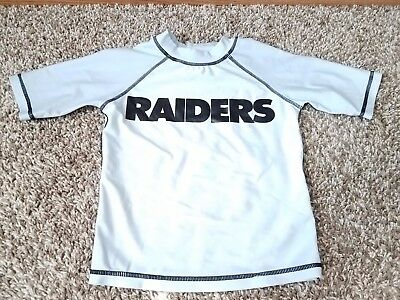 Oakland Raiders Youth Size 5 Swim Rash Guard T-Shirt - Gray - Offical NFL