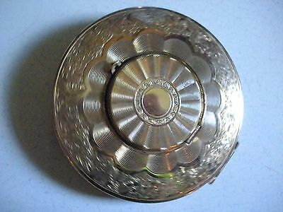Vintage Gold Brass Ornate Compact Mirror Made in England