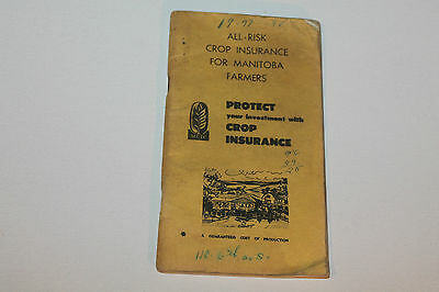 Vintage Booklet Used Notebook Crop Insurance Manitoba Farmers 1971