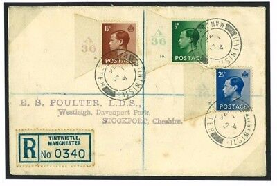 K184a GB 1936 Control Singles FDC Registered Tintwistle Manchester/Stockport