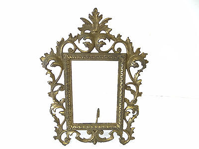 Antique Old Free Standing Brass Metal Ornate Victorian Picture Frame Decorative