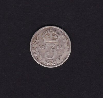 1902 Great Britain UK Threepence Silver Coin