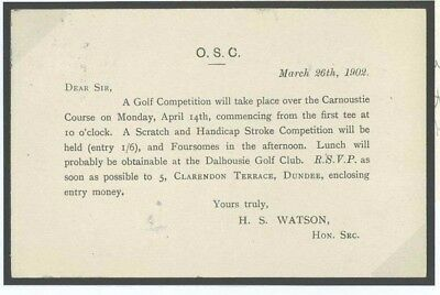 T29a Great Britain Cover 1902 GOLF Competion Invitation Carnoustie Course