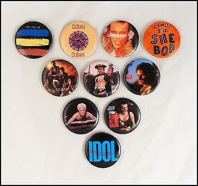 80's Lot Of 10 New Wave Pop Rock Buttons Pins U2 Adam Ant Billy Idol Big Country