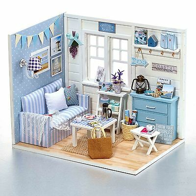 DIY Doll House Fresh Sunshine Dollhouse Miniatures LED Furniture Kit Light Box