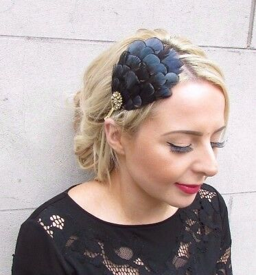 Gold Navy Blue Black Lady Amherst Pheasant Feather Fascinator Headband 40s 4176