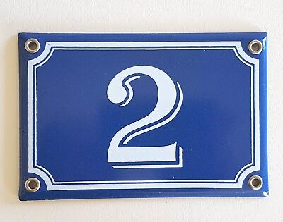Vintage French Blue Enamel Porcelain Door House Gate Number Sign Plate 2