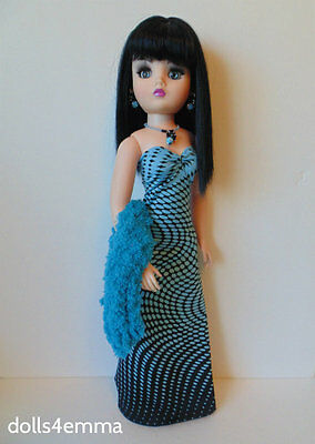 """CISSY DOLL CLOTHES Blue Stole + Gown + Jewelry 21"""" handmade Fashion NO DOLL d4e"""