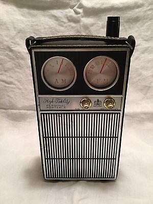 Vintage Transistor Radio Novelty Flask, London Royal 1968 - w/ jiggers & funnel