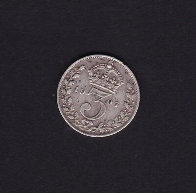 1907 Great Britain UK Threepence Silver Coin