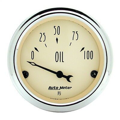 "AutoMeter 1827 Antique Beige Oil Pressure Gauge 2 1/16"" 0-100 psi"