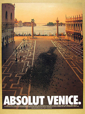 1996 Absolut VENICE Piazza San Marco st mark's square photo vintage print Ad
