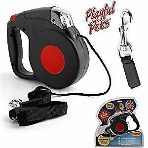 Playful Pets Retractable Dog Lead Extendable Leash With LED Torch 15Ft/4.5 m