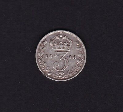 1910 Great Britain UK Threepence Silver Coin