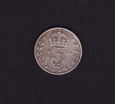 1912 Great Britain UK Threepence Silver Coin