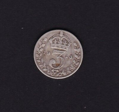 1913 Great Britain UK Threepence Silver Coin