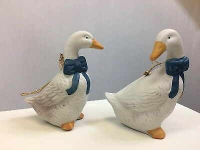 Vintage Porcelain Geese Set Of Two Figurines Goose Ornaments