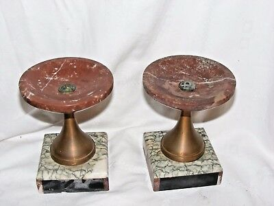 Antique Art Deco Pair French Marble Flat Top Clock Garnitures, Candlesticks
