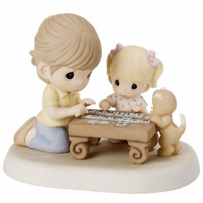 Family Spells Forever Precious Moments Figurine Mom Daughter Cat Scrabble NWOB