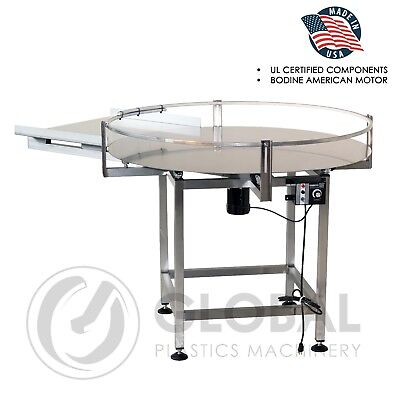 "Globaltek Stainless Steel 36"" Dia. Accumulating Rotary Table with In Feed"
