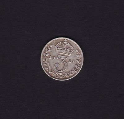 1917 Great Britain UK Threepence Silver Coin