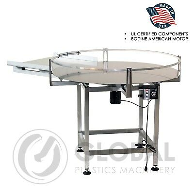 "Globaltek Stainless Steel 48"" Dia. Accumulating Rotary Table with In Feed"