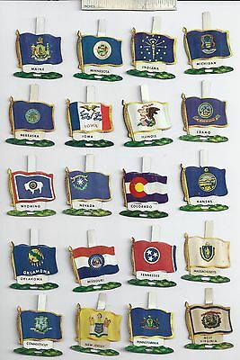 Lot of 35 Diff 1959 NABISCO STATE Flags Tab Pin Shredded Wheat Cereal Giveaway