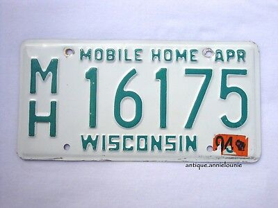 1994 WISCONSIN Vintage License Plate MOBILE HOME # MH 16175