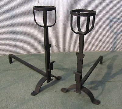 A Pair Of Large French 19Th Century Andirons Fire Dogs