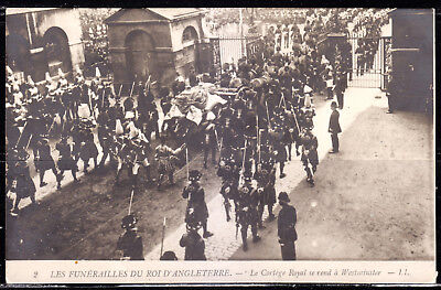 Funeral of King of England, Royal Cortege Going to Westminster, Real Photo #2