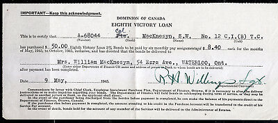 Dominion of Canada Eigth Victory Loan Acknowledgement