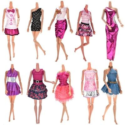 10 Pcs/lot Fashion Clothes Casual Party Dress Suits For Barbie Doll Best Gift Ba