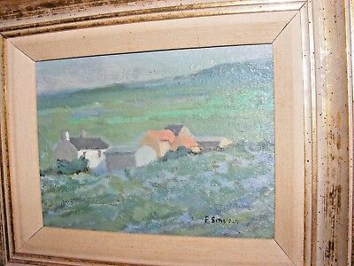 Vintage Impressionist Original Oil Painting By Frances Sinclair On Board Cottage