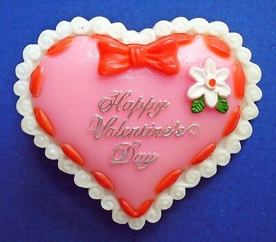 BUY1&GET1@50%~American Greeting PIN Valentines HEART Happy Day LACE FLOWER Vtg