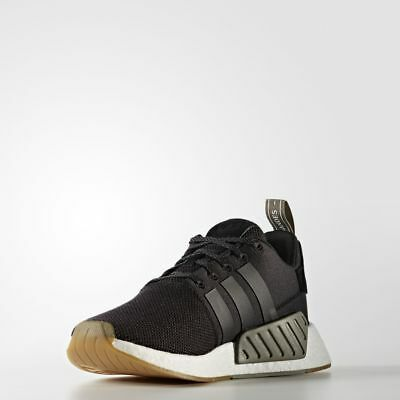 Adidas NMD R2 Black Gum   BY9917   Men Boost PK Knit Mesh Core Khaki Trace 72ad25ce8318