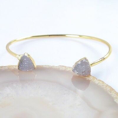 Triangle Natural Agate Druzy Geode Bangle Gold Plated T031381
