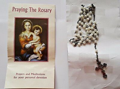 Authentic Pearls Beads Catholic Rosary With White Metal Crucifix