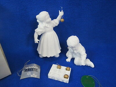 Dept. 56 Winter Silhouette HANGING THE ORNAMENTS White Porcelain in Original Box
