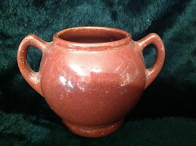 Niloak Pottery Sugar Bowl Rust Glaze 2S 1909-1944 Arkansas Pottery