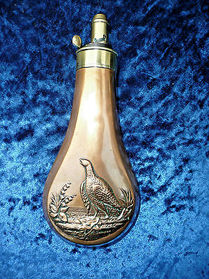 Rare Grouse Design Powder Flask '' Dixon & Sons '' Quality Flask  Top Condition