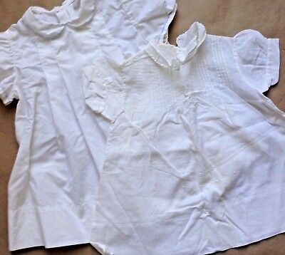 Antique Lot of 2 Baby Gowns Dresses Ivory Cotton Muslin No Size Tag