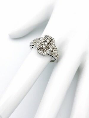 14k WHITE GOLD 0.30CT DIAMOND FILIGREE RING SIZE 6.75