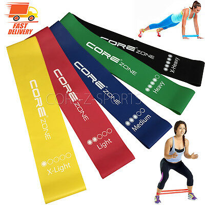 Set of 5 Resistance Exercise Loop Bands Yoga Pilates Fitness Natural Latex