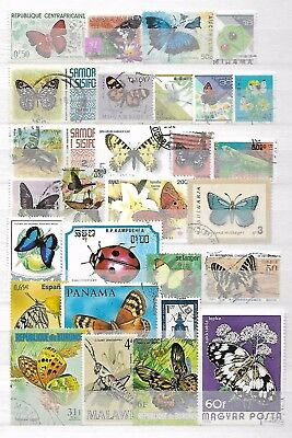 BUTTERFLIES INSECTS LADYBUG Interesting Thematic Topical Stamps LOT No.16030917