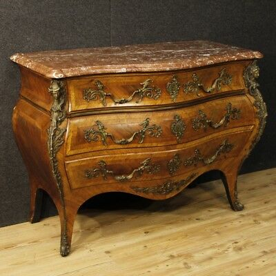 French dresser in wood marble chest of drawers bronze antique style Louis XV