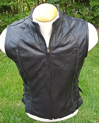 Natural Riders Motorcycle Full Zip Vest With Side Strap Buckles Men's Sz Small