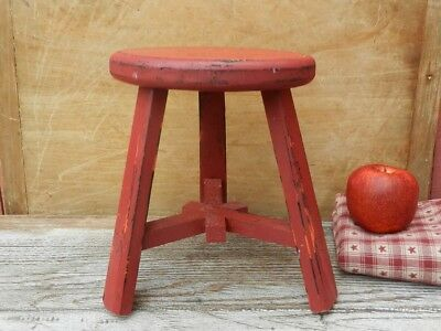 Vintage STOOL BENCH Milking Stool Red paint