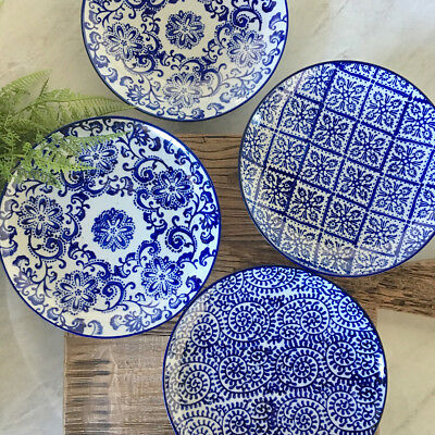 Set of 4 Blue & White Patterned Plates/Side Plates/Ceramic Trinket Dishes